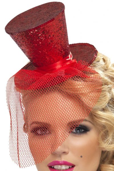 Burlesque Mini Top Hat On Headband Red
